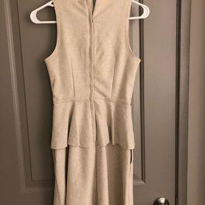 Banana Republic Dresses - Banana Republic Cream Linen Peplum Dress